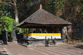 Traditional balinese pavilion in a temple bale piasan for offerings goa lawah bat cave Royalty Free Stock Image