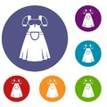 Traditional Bavarian dress icons set