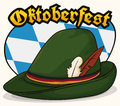 Traditional Bavarian Felt Hat with Feathers to Celebrate Oktoberfest, Vector Illustration Royalty Free Stock Photo
