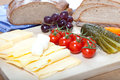 Traditional bavarian light meal with german bread and cheese Royalty Free Stock Photo