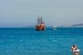 Traditional boat trips on the sea on sailing vessels aka pirate ships avsallar turkey july mediterranean Royalty Free Stock Image