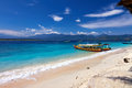 Traditional boat on tropical beach local gili meno lombok indonesia Stock Image