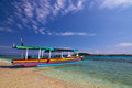 Traditional boat on tropical beach local gili meno lombok indonesia Royalty Free Stock Images