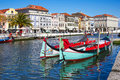 Traditional boats on the canal in Aveiro Royalty Free Stock Photo