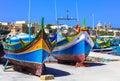 Traditional boats in Malta - Marsaxlokk Royalty Free Stock Photo