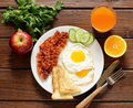 Traditional breakfast - eggs, bacon, toast Royalty Free Stock Photo