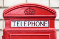 Traditional British red telephone box sign, London Royalty Free Stock Photo