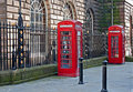 Traditional British telephone boxs Stock Images