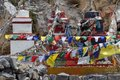 Traditional Buddhist chortens stand in the Himalayan mountains. Royalty Free Stock Photo