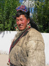 Traditional buddhist man at Ladakh festival Royalty Free Stock Images