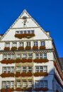 Traditional building with flowers on the balcony in Munich, Germany Royalty Free Stock Photo