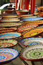 Traditional bulgarian ceramic plates hand painted used for serving food are popular tourist souvenirs Royalty Free Stock Photography