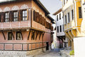 Traditional bulgarian houses in the old town of Plovdiv, Bulgaria Royalty Free Stock Photo