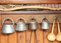 Traditional bulgarian utensils a located wooden wall Royalty Free Stock Photos