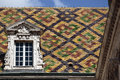 Traditional Burgundy roof tiles Dijon France closeup Royalty Free Stock Photo
