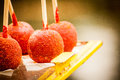 Traditional caramel apples with hot pepper at xochimilco mexico Royalty Free Stock Photo