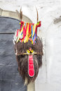 Traditional carnival mask ptuj kurent head piece hanging on the wall Royalty Free Stock Image