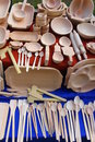 Traditional carved wood dishware Royalty Free Stock Photo