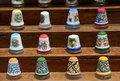Traditional ceramic thimbles a detail of some made of glazed colorful from sicily landscape cut Royalty Free Stock Image
