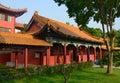 Traditional Chinese Buddhist temple in Lumbini, Nepal - birthplace of Buddha Royalty Free Stock Photo