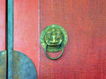 Traditional chinese door knocker close up of Stock Photo