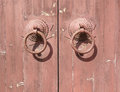 knocker on old wood wooden door Royalty Free Stock Photo