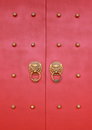Traditional chinese door wooden red Royalty Free Stock Photography