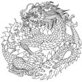 Traditional Chinese or East Asian dragon. Outline