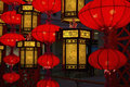 Traditional chinese lamps and lanterns in the mall foil festal atmosphere Stock Image