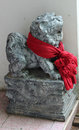 Traditional chinese lion guard in temple Stock Photo