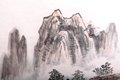Traditional chinese painting landscape mountain trees clouds Stock Photo