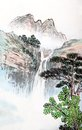 Traditional chinese painting landscape trees Stock Image