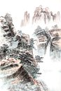 Traditional chinese painting landscape trees Royalty Free Stock Images