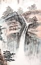 Traditional chinese painting landscape trees Stock Photos
