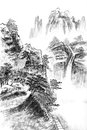 Traditional chinese painting landscape trees clouds Stock Photography