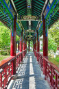 Traditional chinese style corridor in spring garden Stock Photos