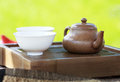 Traditional chinese tea ceremony accessories pot and pair on the table selective focus Royalty Free Stock Images