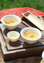 Traditional chinese tea ceremony accessories tea cups on the table Royalty Free Stock Image