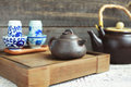 Traditional chinese tea ceremony accessories tea pot and tea pa pair on the table selective focus Royalty Free Stock Image