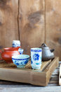 Traditional chinese tea ceremony accessories on the tea table Royalty Free Stock Photos
