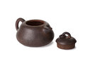 Traditional chinese tea ceremony tea pot isolated on white clayware with cover removed Royalty Free Stock Photos