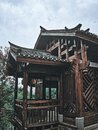 traditional chinese wooden building of wuhan garden expo park