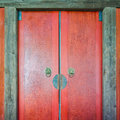 Traditional chinese wooden door part of Stock Image