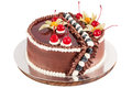 Traditional chocolate cake decorated with cream, cherries and bl Royalty Free Stock Photo