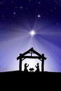 Traditional Christian Christmas Nativity scene with the three wi Royalty Free Stock Photo