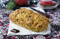 Traditional Christmas cake with apples and chocola Stock Photos