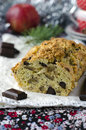 Traditional Christmas cake with apples and chocola Stock Photography