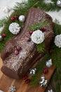 Christmas Chocolate Yule Log Cake Royalty Free Stock Photo