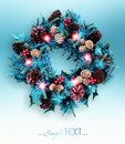 Traditional Christmas wreath on blur background. Royalty Free Stock Photo