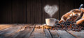Traditional Coffee Cup With Heart-Shaped Steam Royalty Free Stock Photo